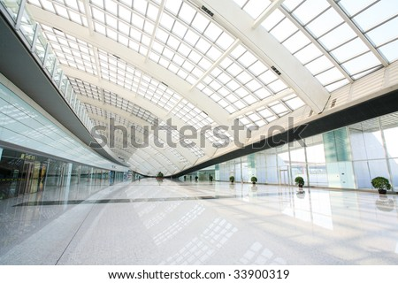 hall of beijing T3 airport station - stock photo