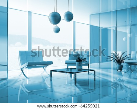 Hall of hotel in agoy 3d image - stock photo