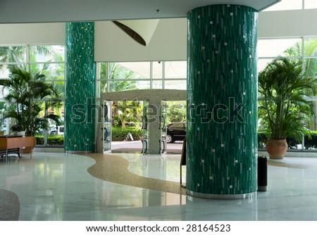 hall of modern luxury hotel - stock photo