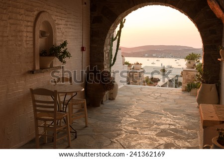 Hall of traditional Greek house on Paros island - stock photo