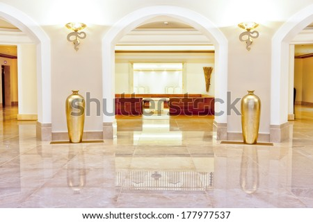 Foyer Interior Urn : Hall foyer marble floor arches flanked stock photo royalty free