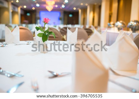 hall or other function facility set for fine dining - stock photo