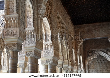 Hall way in Alhambra 4 - stock photo