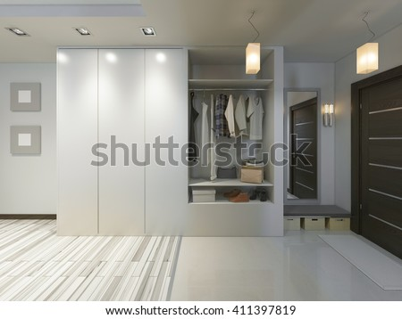 Hall with a corridor in Contemporary style with a wardrobe and a sliding. 3D render. - stock photo