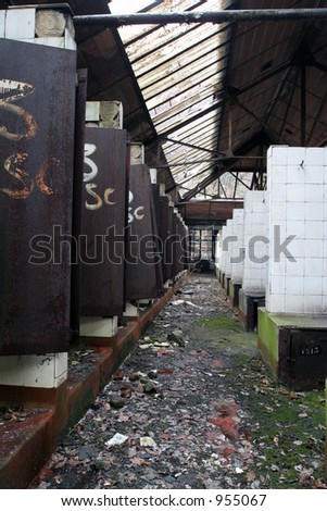 hall with showers inside mine - stock photo