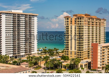 Hallandale beach Skyline in Florida