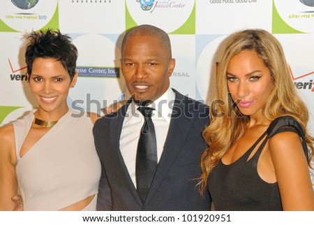 Halle Berry, Jamie Foxx and Leona Lewis at the 2010 Jenesse Silver Rose Gala & Auction, Beverly Hills Hotel, Beverly Hills, CA. 04-18-10 - stock photo