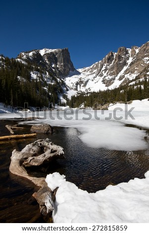 Hallet Peak and Dream Lake in Rocky Mountain national Park - stock photo