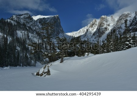 Hallet Peak in Rocky Mountain National Park - stock photo