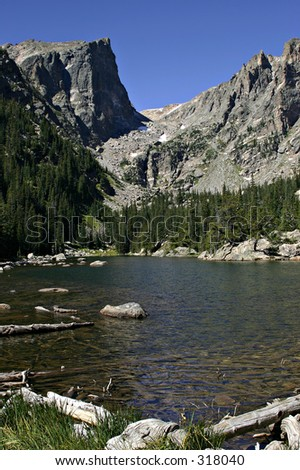 Hallett Peak, Dream Lake in Foreground, Rocky Mountain National Park, Colorado - stock photo