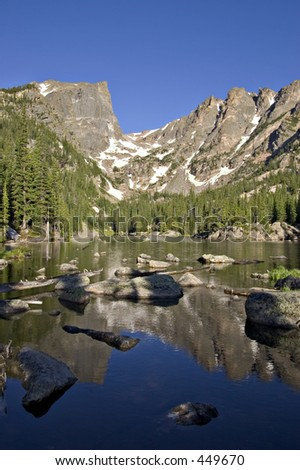 Hallett Peak from Dream Lake, rocks and logs in foreground, Rocky Mountain Nat'l Park, Colorado - stock photo
