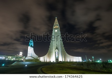 Hallgri­mskirkja, a lutheran church with Lief Erickson statue, Reykjavik, Iceland   - stock photo