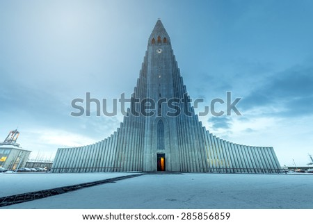 Hallgrimskirkja cathedral in reykjavik iceland - stock photo