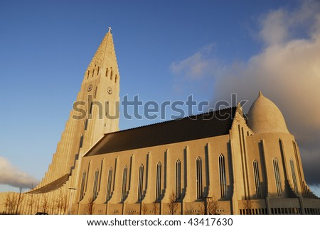 Hallgrimskirkja Church, Reykjavik, Iceland - stock photo