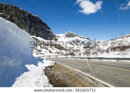 Hallingskarvet is a mountain range in southern Norway stretching from Geilo to Finse. The highest point is the 1,933-metre (6,342 ft) tall mountain Folarskardnuten - stock photo