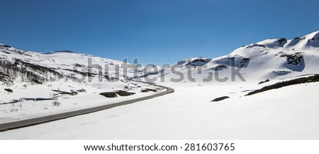 Hallingskarvet is a mountain range in southern Norway stretching from Geilo to Finse. The highest point is the 1,933-metre (6,342 ft) tall mountain Folarskardnuten,  - stock photo