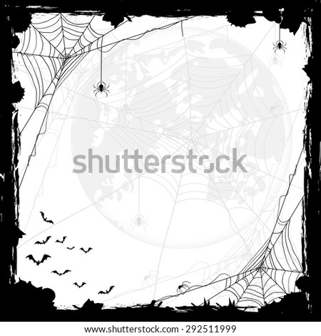 Halloween abstract background with Moon, black spiders and bats, illustration. - stock photo