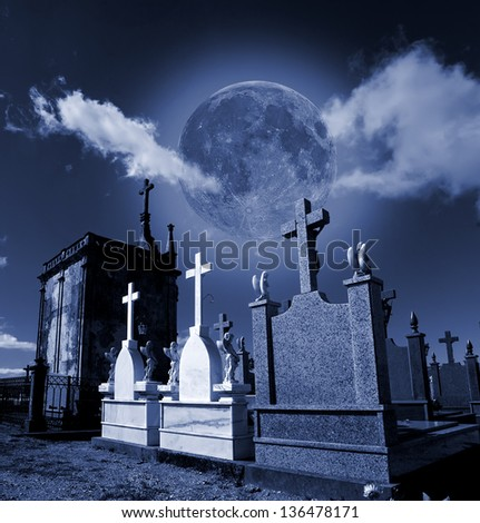 Halloween ambiance of full moon cemetery.(Square Frame) - stock photo