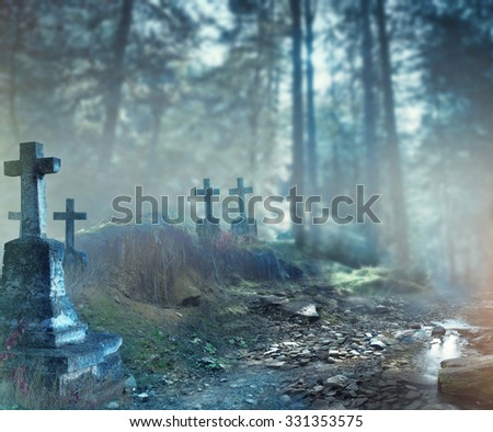 Halloween art design background. Foggy Graveyard at night. Old Spooky cemetery in moonlight through the trees - stock photo