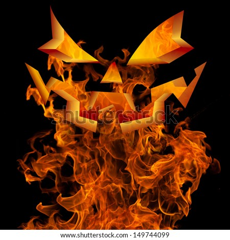 Halloween Autumn Fall Background Greeting Design With Scary Flaming Jack O Lantern Pumpkin Face Horror Invitation Burning Fire, Holiday Flyer Isolated On Black For Holiday Party Text  - stock photo