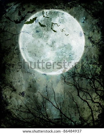 Halloween background. Bats flying in the night with a full moon in the background. - stock photo