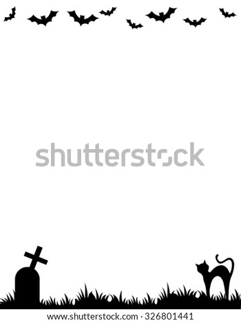 Halloween background / frame with silhouettes of bats , cat and tomb stone - stock photo