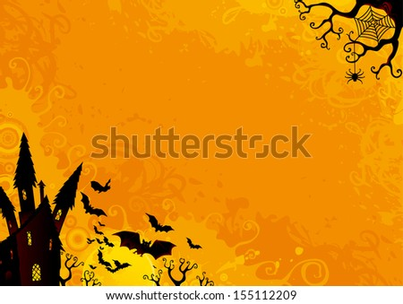 Halloween Background. Halloween orange background with many flying  bats, old house, moon, trees.  - stock photo