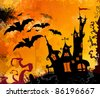 Halloween background. Hand drawn image. - stock vector