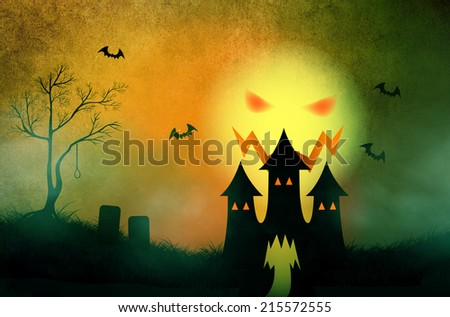 Halloween background illustration with silhouette haunting castle in misty graveyard and scary sky with evil moon ghost face - stock photo
