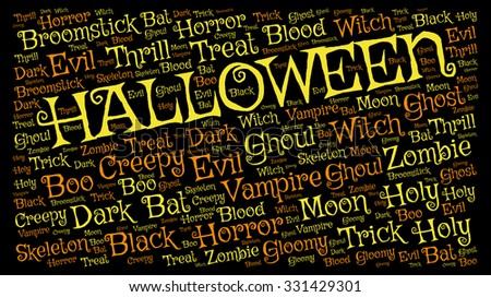 Halloween background: orange and yellow tag cloud words on black  - stock photo