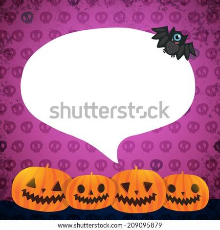 Halloween background. Pumpkins with bubble speech, bat. - stock photo
