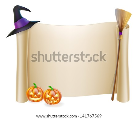 Halloween background scroll sign with witch hat, broomstick and carved orange pumpkins  - stock photo