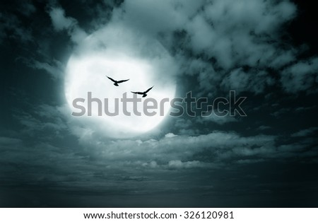 Halloween background, sky and blurred full moon, Dark style. - stock photo