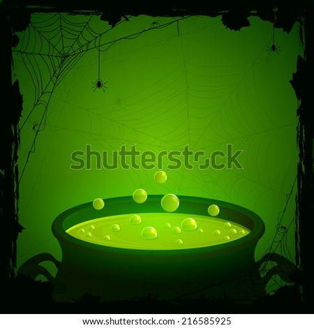 Halloween background, witches cauldron with green potion and spiders, illustration. - stock photo