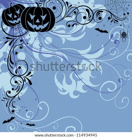 Halloween background with bat, pumpkin, floral, illustration