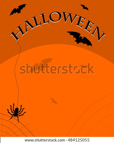 Halloween background with bats and a spider