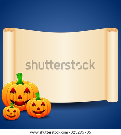 Halloween background with blank sign - stock photo