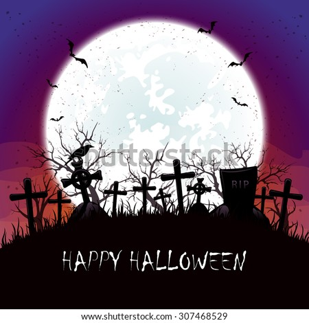 Halloween background with blue Moon,  bats and crow at the cemetery, illustration. - stock photo