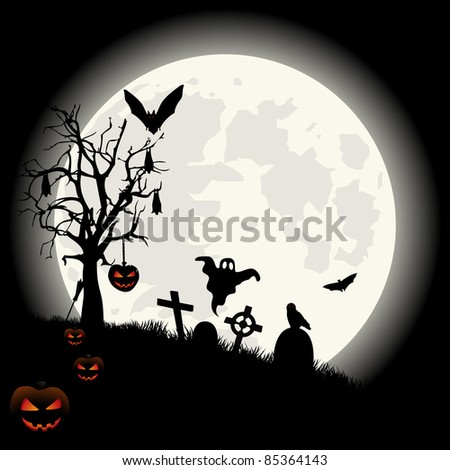 Halloween background with full moon lantern and spooky cemetery.