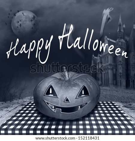 Halloween background with haunted castle, bats, ghosts, full moon  - stock photo