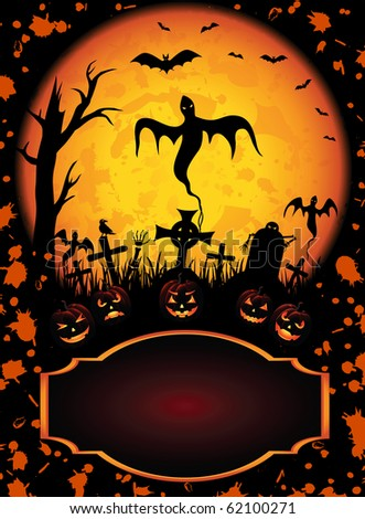 Halloween background with Jack O' Lantern and ghost, illustration - stock photo