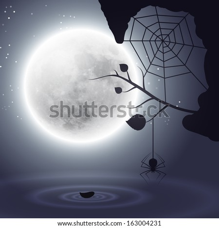 Halloween background with moon and spider. Raster version. - stock photo