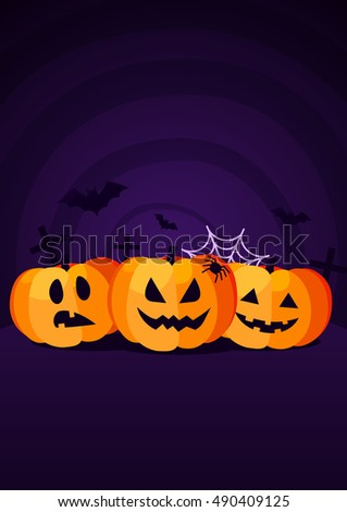 Halloween Background with Orange Pumpkins, Web and Dat. Vector Flat Illustration. Halloween Night Party. Trick or Treat.
