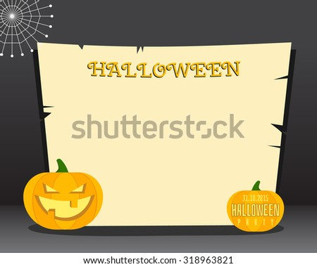 Halloween background with place for text. Happy Halloween flyer card, poster. Dark design with pumpkins. web and retro paper. illustration