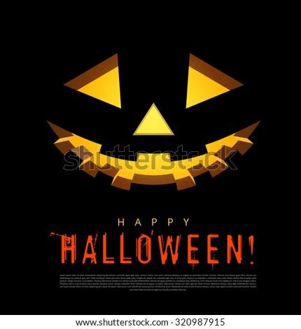 Halloween background with pumpkins lantern - stock photo