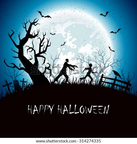 Halloween background with running man from zombies, illustration. - stock photo