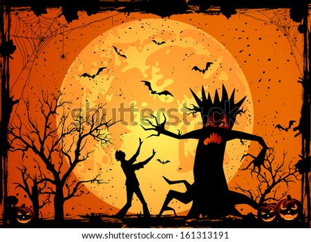 Halloween background with scary tree and fearfulness man, illustration. - stock photo