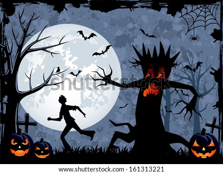 Halloween background with scary tree and fearfulness running man, illustration. - stock photo
