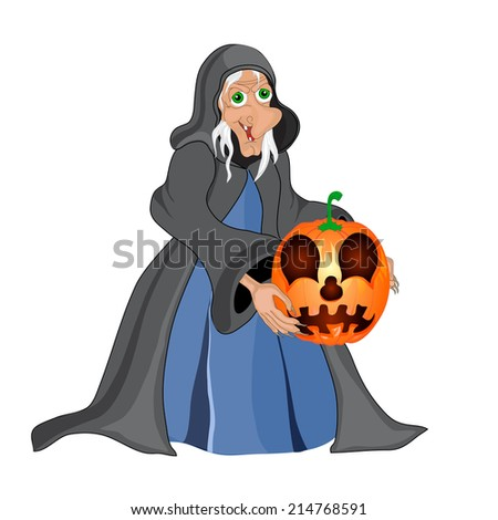Halloween background with  witch and pumpkins. Halloween banner .