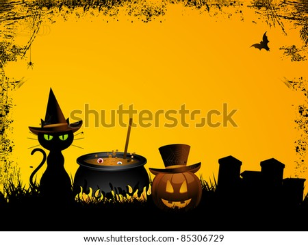 Halloween background with witch's cat, cauldron and pumpkin - stock photo